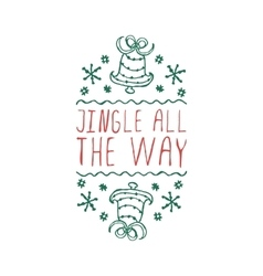 Christmas label with text on white background vector