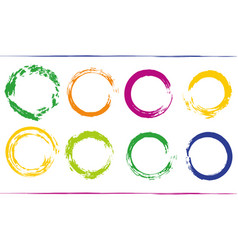 Colorful bundle with rainbow circle frames grunge vector