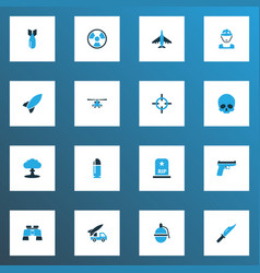 combat icons colored set with tomb military vector image