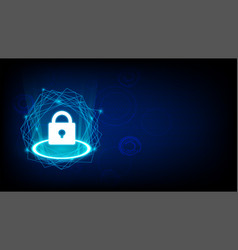 concept of cyber security with key icon on dark vector image