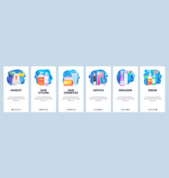 cosmetics website and mobile app onboarding vector image