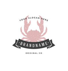 crab hand drawn logo isolated on white background vector image