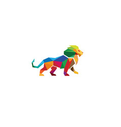 creative colorful lion logo vector image