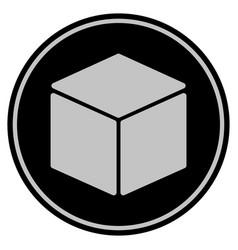 Cube black coin vector