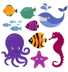 Cute sea creatures Cartoon smiling animals vector image