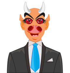 Devil in suit with tie vector