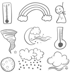 Doodle of weather art collection vector