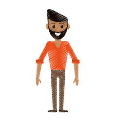 Drawing man avatar standing smile vector