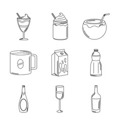 drinks beverage glass cups bottle alcoholic liquor vector image