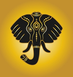 elephant head in golden color vector image