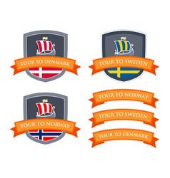 Emblem set with coat of arms of scandinavia vector