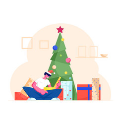 Excited surprised man in santa claus hat opening vector