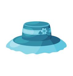 female blue hat vintage headdress sun protection vector image