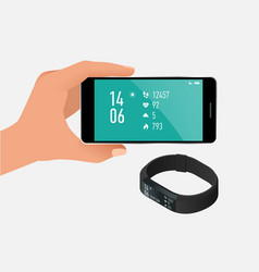 fitness bracelet or tracker with a smartphone vector image