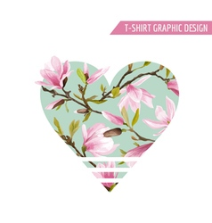 Flower Heart Graphic Design - for t-shirt fashion vector