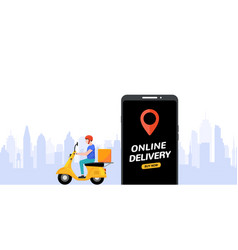 free delivery boy phone service delivery man food vector image