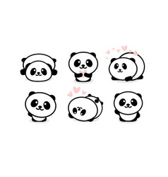 friendly and cute pandas set chinese bear icons vector image