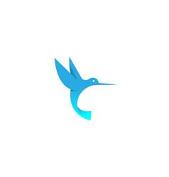 geometric blue hummingbird logo vector image