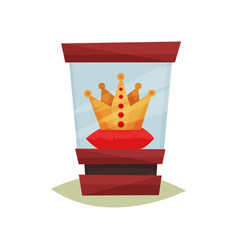 Golden crown with red gems on pedestal under glass vector