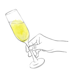 hand with glass champagne vector image