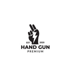 Hand with storm silhouette logo design vector