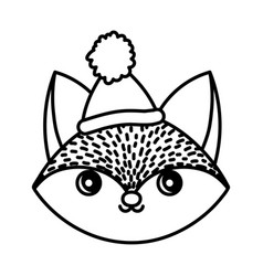 happy fox head with hat merry christmas thick line vector image