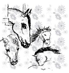 Horses background vector