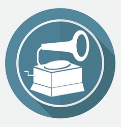 icon old gramophone on white circle with a long vector image