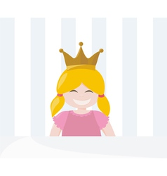 Little pampered blond princess with golden crown vector