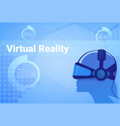 man in virtual reality headset background with vector image