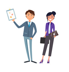 Man showing clipboard page woman with briefcase vector