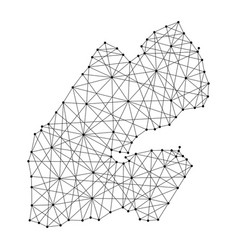 Map of djibouti from polygonal black lines vector