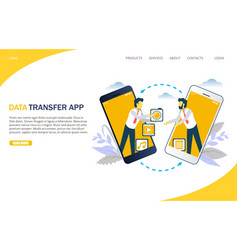 Media transfer website landing page design vector