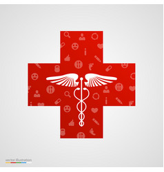 medical cross with medical icons vector image