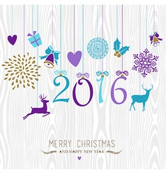 Merry Christmas and Happy new year hang retro 2016 vector image