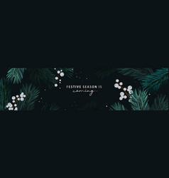 merry christmas holiday season banner pine tree vector image