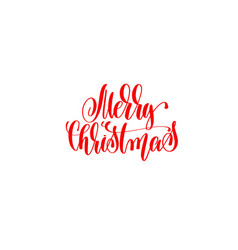 merry christmas red hand lettering winter holidays vector image
