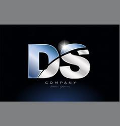 Metal blue alphabet letter ds d s logo company vector