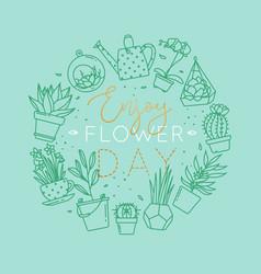 monogram pots with plants enjoy flower turquoise vector image