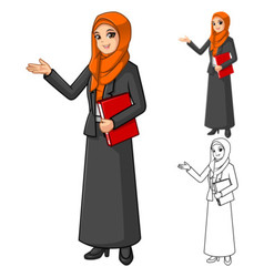 Muslim Businesswoman Wearing Orange Veil or Scarf vector