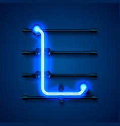 Neon font letter l art design signboard vector