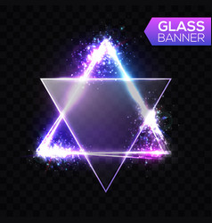 Neon sign triangle with transparent glass plate vector