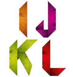 Origami alphabet letters I J K L vector