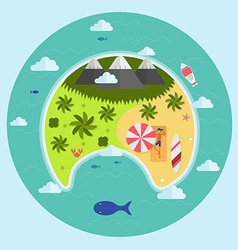 Paradise Tropical Island Aerial View vector image