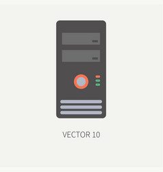 Plain flat color computer part icon housing vector