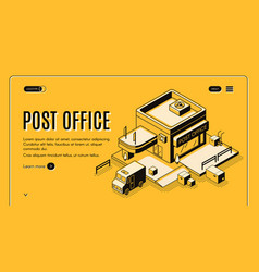 Post office online service isometric web banner vector