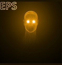 Powerful energy beams at eyes golden colored vector