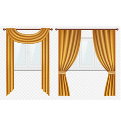 realistic windows with curtains and drapes vector image