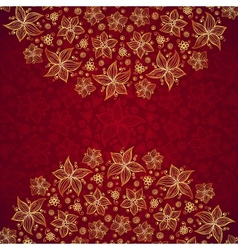 Red vintage doodle flowers background vector
