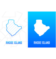 Rhode island - us state contour line in white vector